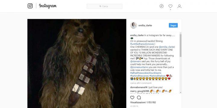 Chewbacca, per la prima volta su Instagram!